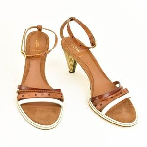 Fendi Shoes - FENDI: Brown, Leather & Logo Sandals/Heels